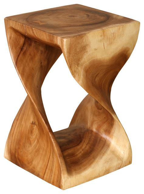 Twisting natural wood side table acacia wood contemporary side tables and end tables by