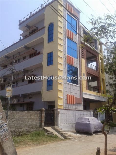 rectangle shape 3 floor building outer steps elevations