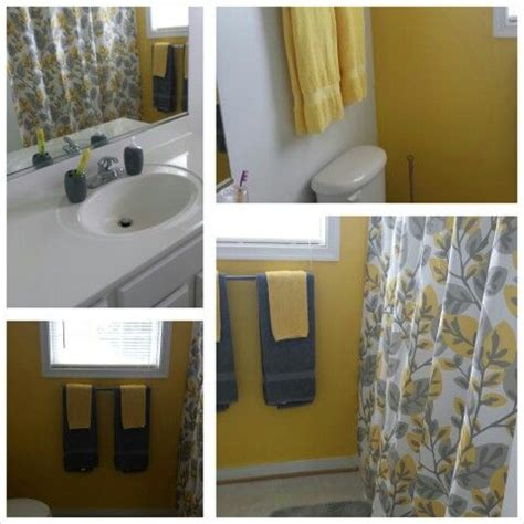 Gray And Yellow Shower Curtain Bathrooms Pinterest Yellow And Grey Bathroom Accessories