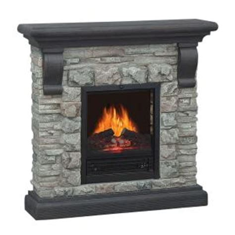 quality craft 40 in electric fireplace in gray