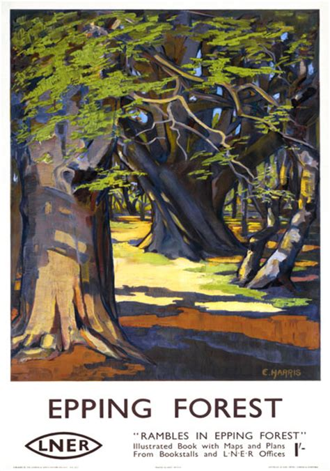 rambles  epping forest essex vintage lner travel poster