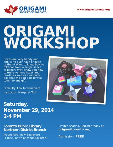 origami workshop box workshop northern district library origami society