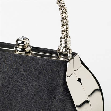 New Arrival Bna Bag Top Handle 2268 stunning black satin evening bag w silver rope handle rhinestone closure 8022
