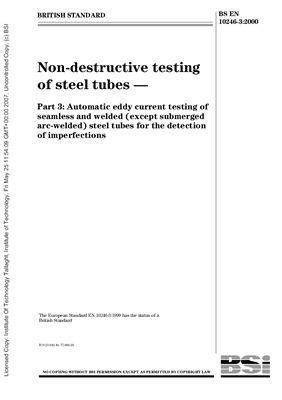BS EN 10246-3: 2000 Non-destructive testing of steel tubes