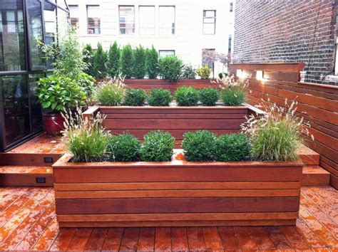 modern wood planter nyc roof garden terrace deck wood planter boxes fence container garden ipe contemporary