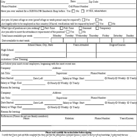 printable job application for outback steakhouse free subway employment application pdf 2 pages subway job