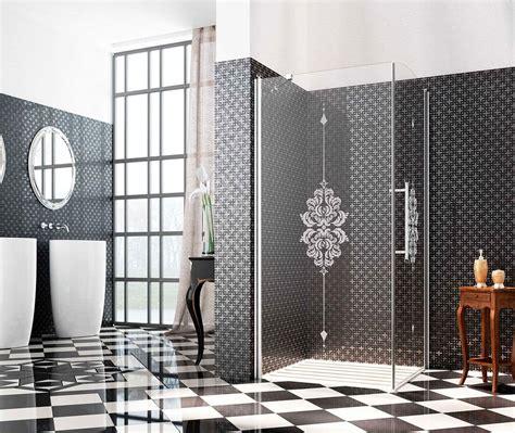 chiusura doccia chiusura doccia con cristallo decorato profilo