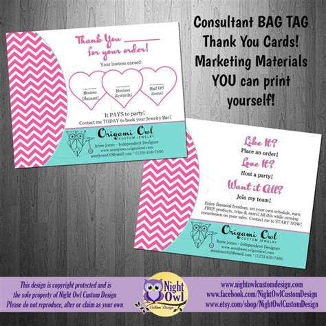 origami owl consultants customer thank you bag tag postcard origami owl o2