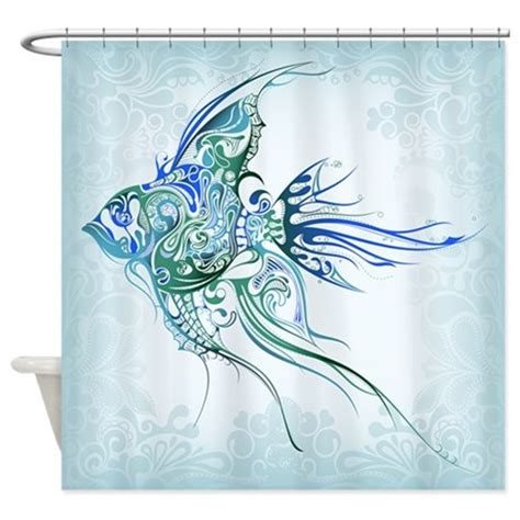 shower curtain fish design pretty blue tropical fish shower curtain by getyergoat
