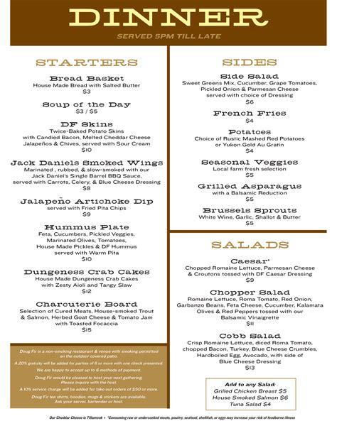 menu for dinner menus doug fir lounge