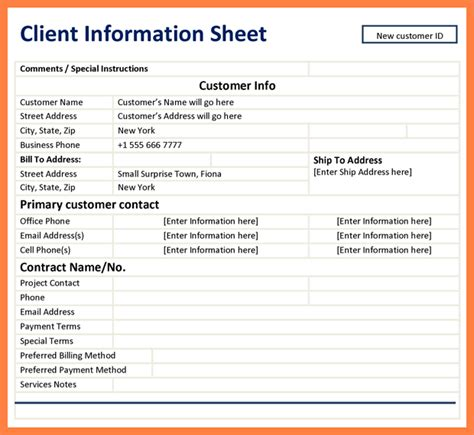 Salon Client Information Sheet Template by 7 Customer Information Sheet Template Bussines