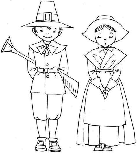 coloring page of a pilgrim girl best photos of pilgrim boy and girl printable printable