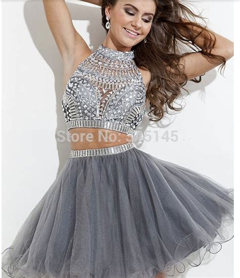 2 piece prom dresses for sale hot sale silver grey beaded short tulle two piece prom