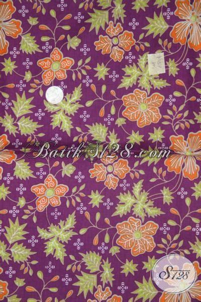 Diskon Kain Batik Meteran Modern Bunga Cantik Terbaru batik bagus asli warna ungu dengan motif bunga cantik dan modern kain batik bahan baju