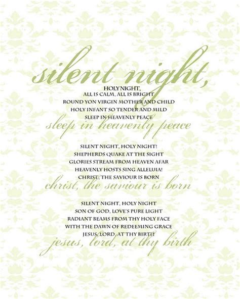 printable lyrics to silent night printable christmas songs christmas carols pinterest