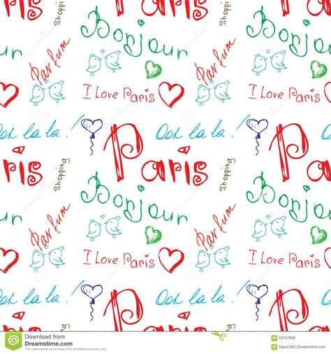 background pattern word 2010 colored word about paris seamless pattern stock vector