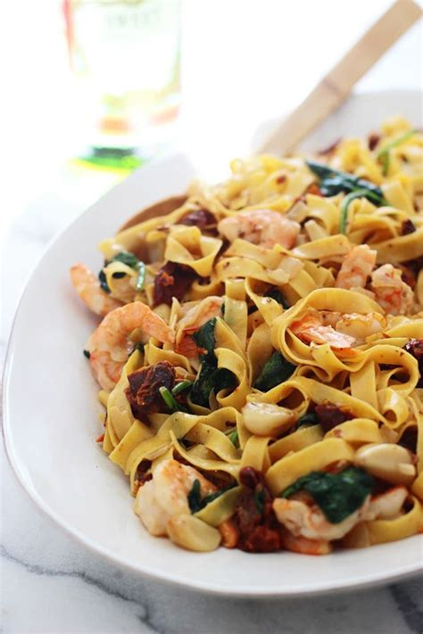 pasta sauce ideas shrimp tagliatelle with roasted garlic sun dried tomatoes