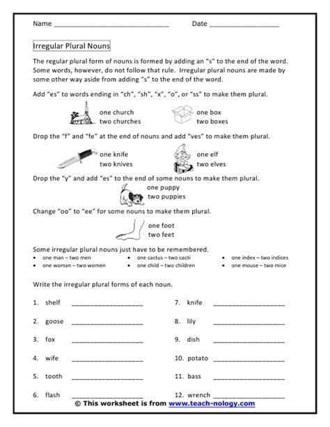 Irregular Plurals Worksheet by Singular And Plural Irregular Nouns Exercises