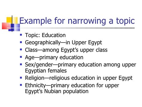 narrow topics for research papers selecting and narrowing research topics