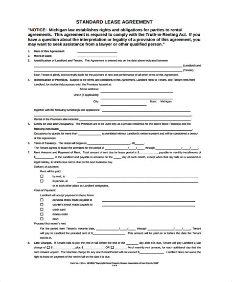blank lease agreement template sle blank lease agreement 7 documents in pdf word