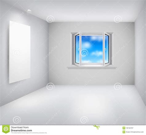 empty white room empty white room with open window and frame stock vector image 18742707