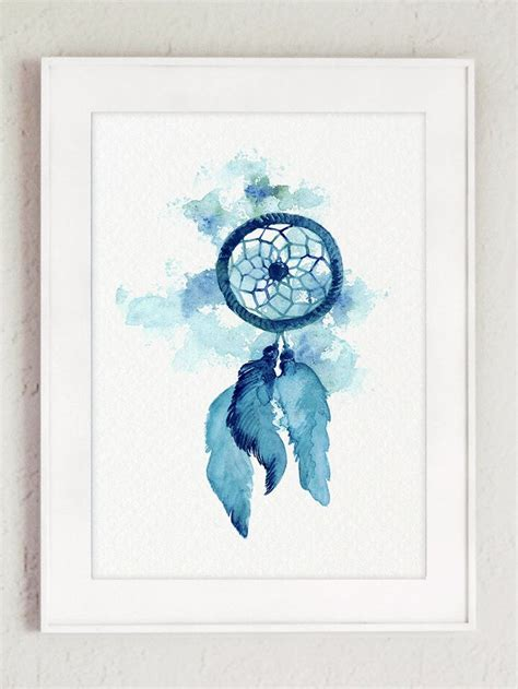 American Wall Decor by Catcher Feathers Watercolor Painting Home Blue