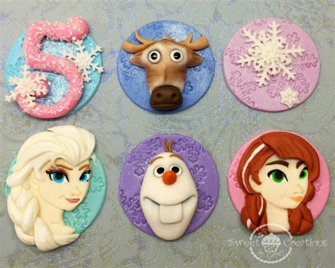 frozen fondant edible inspired theme cupcake toppers