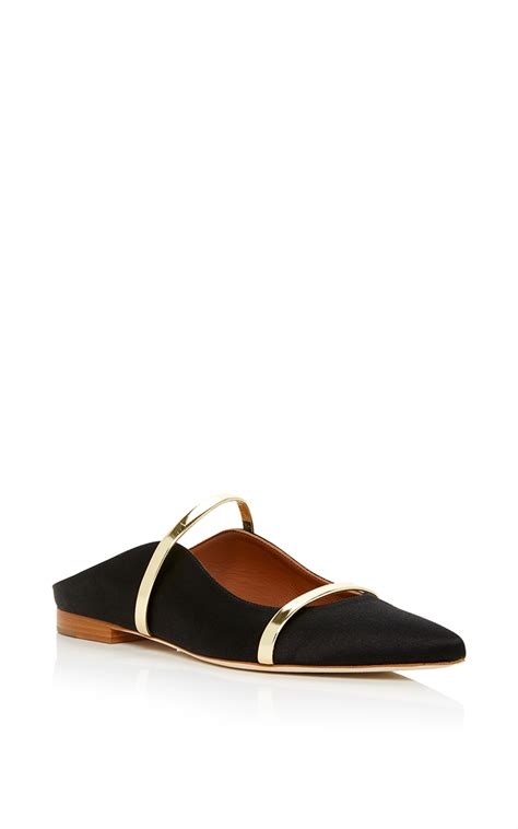 Malone Souliers Flat malone souliers maureen metallic leather trimmed satin point toe flats in black silver satin