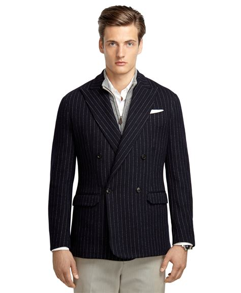 striped sleeve blazer grey navy brothers navy stripe breasted knit blazer in blue for lyst