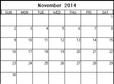 printable monthly calendar november 2014 november 2014 printable calendar