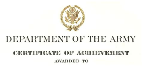 army certificate of achievement template army certificate of achievement citation exles