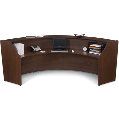 Reception Desks Furniture Contemporary Unit Reception Desk In Walnut Finish With Silver Frame Reception Desks