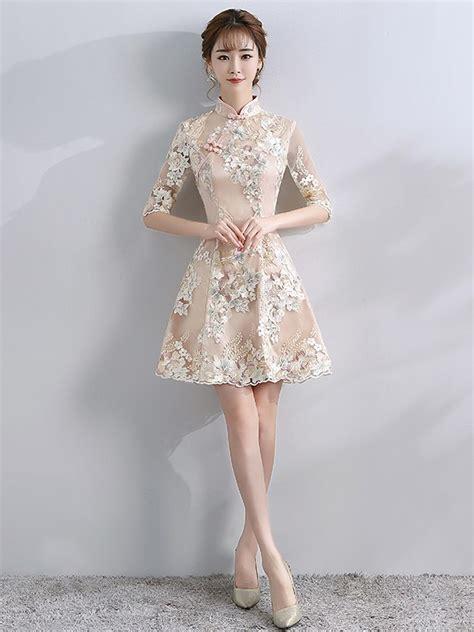 embroidered a line qipao cheongsam dress with half