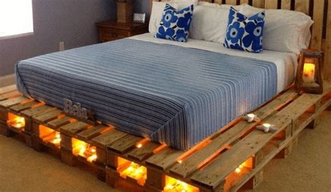pallet bed with lights 11 designs for diy beds made out of pallets tiphero