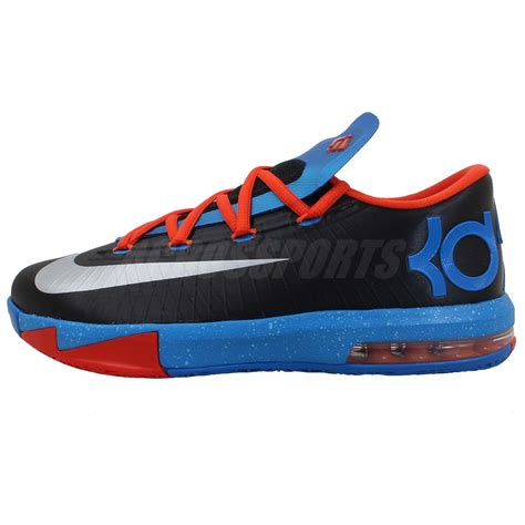 kevin durant boys basketball shoes nike kd vi gs 6 kevin durant black blue boys youth thunder