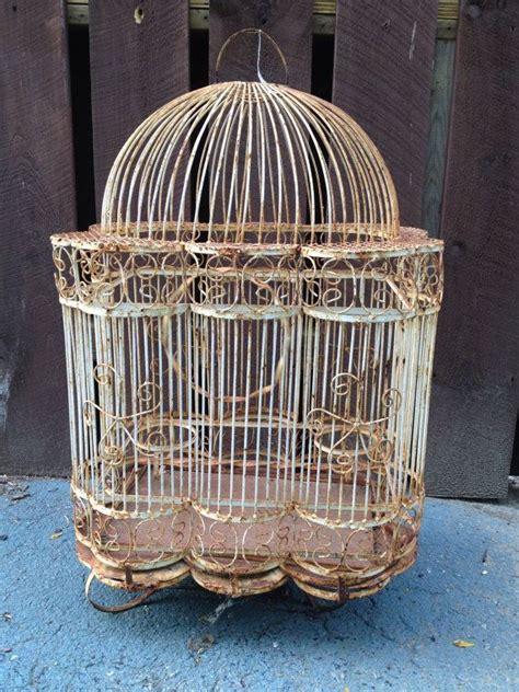 rusty shabby chic white wire bird cage