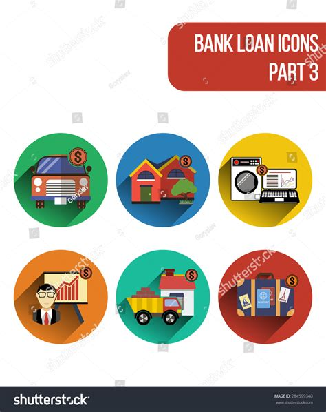 corporation bank house loan round vector flat icons various types stock vector