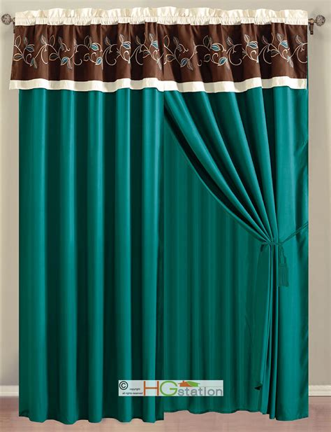 Teal Sheer Valance 4 Pc Laurels Leaves Scroll Embroidery Curtain Set Teal