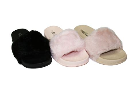 fluffy house shoes women s fuzzy faux fur fluffy pool slide lightweight slippers sz 5 11 sorenza