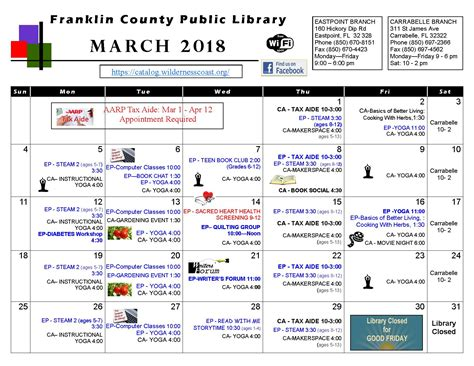 Fcpl News And Special Events Library | fcpl march calendar of events franklin county public
