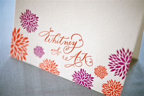 Wedding Card Calligraphy by A K S Colorful Letterpress Wedding Invitations