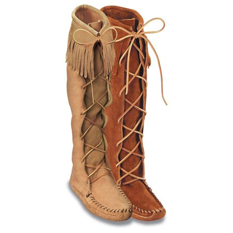 moccasin boots for minnetonka mens leather bottom knee hi moccasin boots