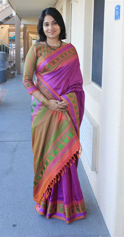Sairah Syari Pink magnificent purple pink green and orange handloom saree