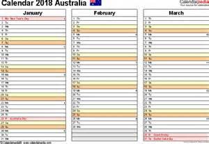 Calendar 2018 Template Australia Australia Calendar 2018 Free Printable Excel Templates