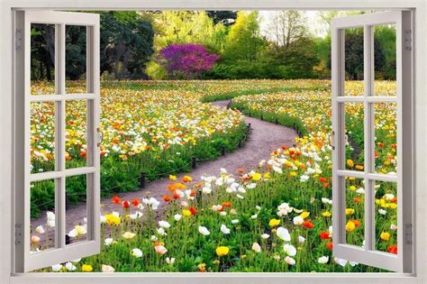 garden wall stickers flower garden 3d window view decal wall sticker home decor