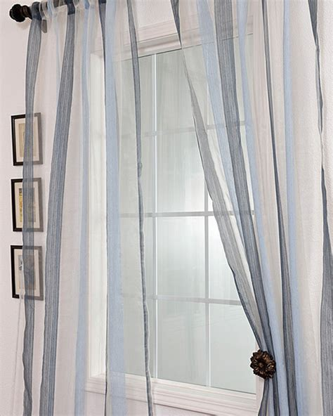 96 inch sheer curtains signature havannah blue 96 inch striped linen and voile