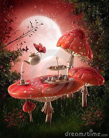 fairy garden  red mushrooms stock photography image