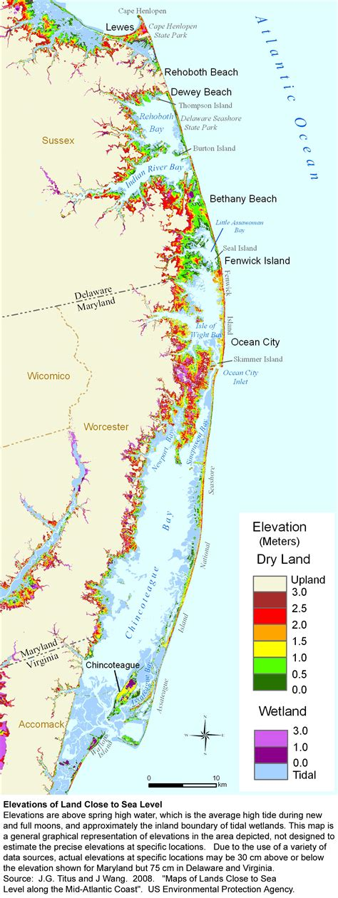 map of maryland eastern shore and delaware sea level rise planning maps likelihood of shore
