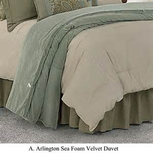 Duvet Super King Size Arlington Bedding Collection Transitional Velvet Sea Foam