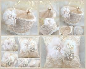 bridal ring bearer pillow and flower basket set by